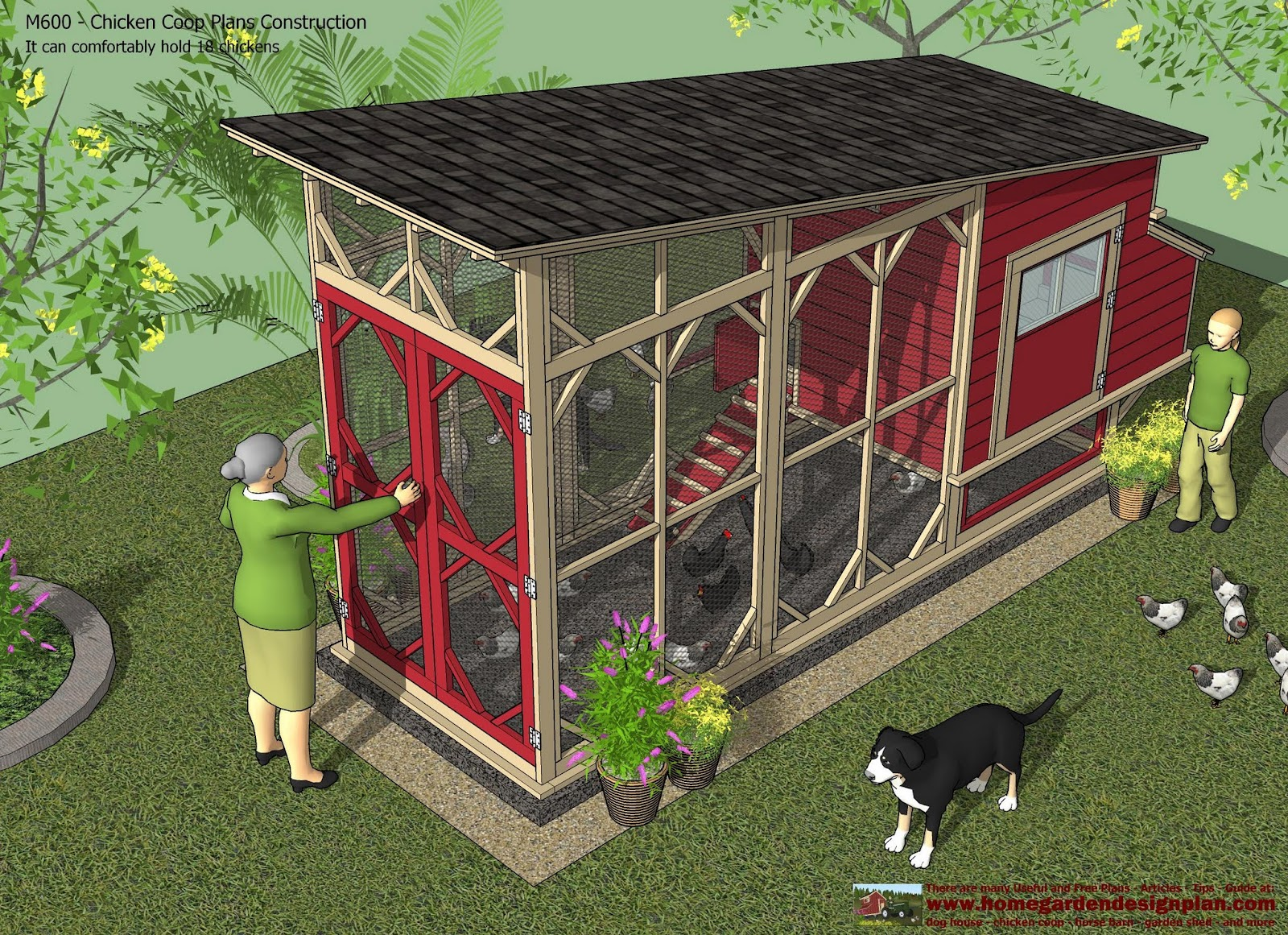 Home garden plans m600 chicken coop plans construction for Chicken run plans