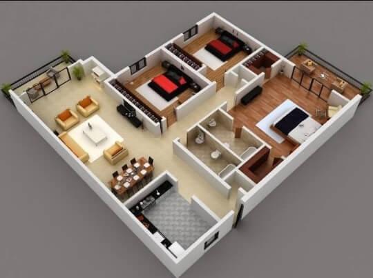 Denah Rumah Minimalis 1 Lantai 3 Kamar