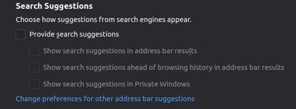 أفضل إضافات الخصوصية لـ Firefox خيارات البحث