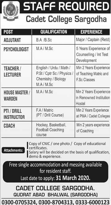 Cadet College Sargodha Latest Jobs 2020