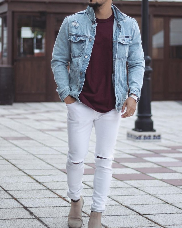 Blue denim and maroon tee with white jeans