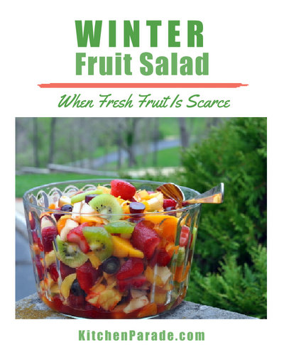 Winter Fruit Salad ♥ KitchenParade.com, a fruit salad for the months when fresh fruit is scarce, a combination of fresh, frozen and canned fruit, brightened with lemon zest and Grand Marnier.