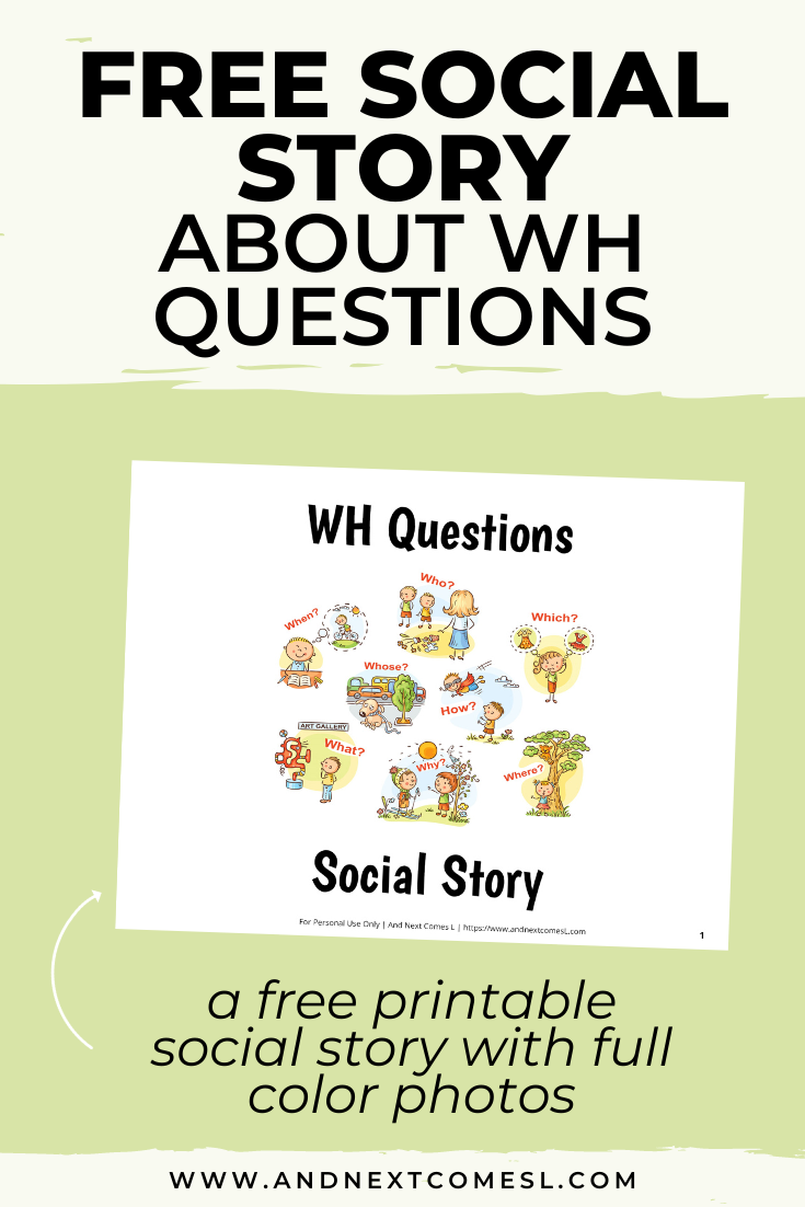 Need activities for teaching WH questions to kids with hyperlexia or autism? Try this free social story!