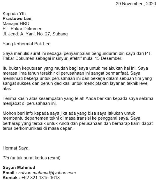 surat resign bahasa inggris dan artinya