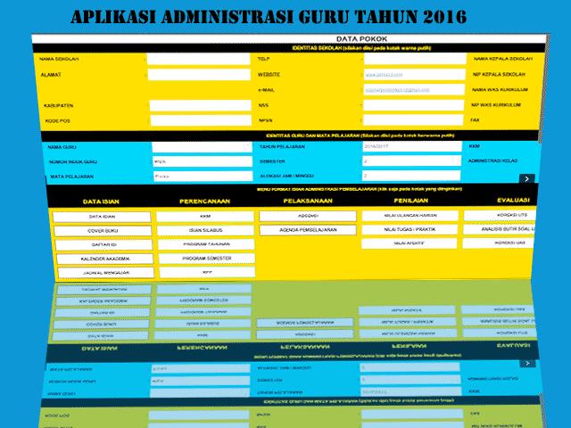 Aplikasi Administrasi Guru Format excel tahun 2016
