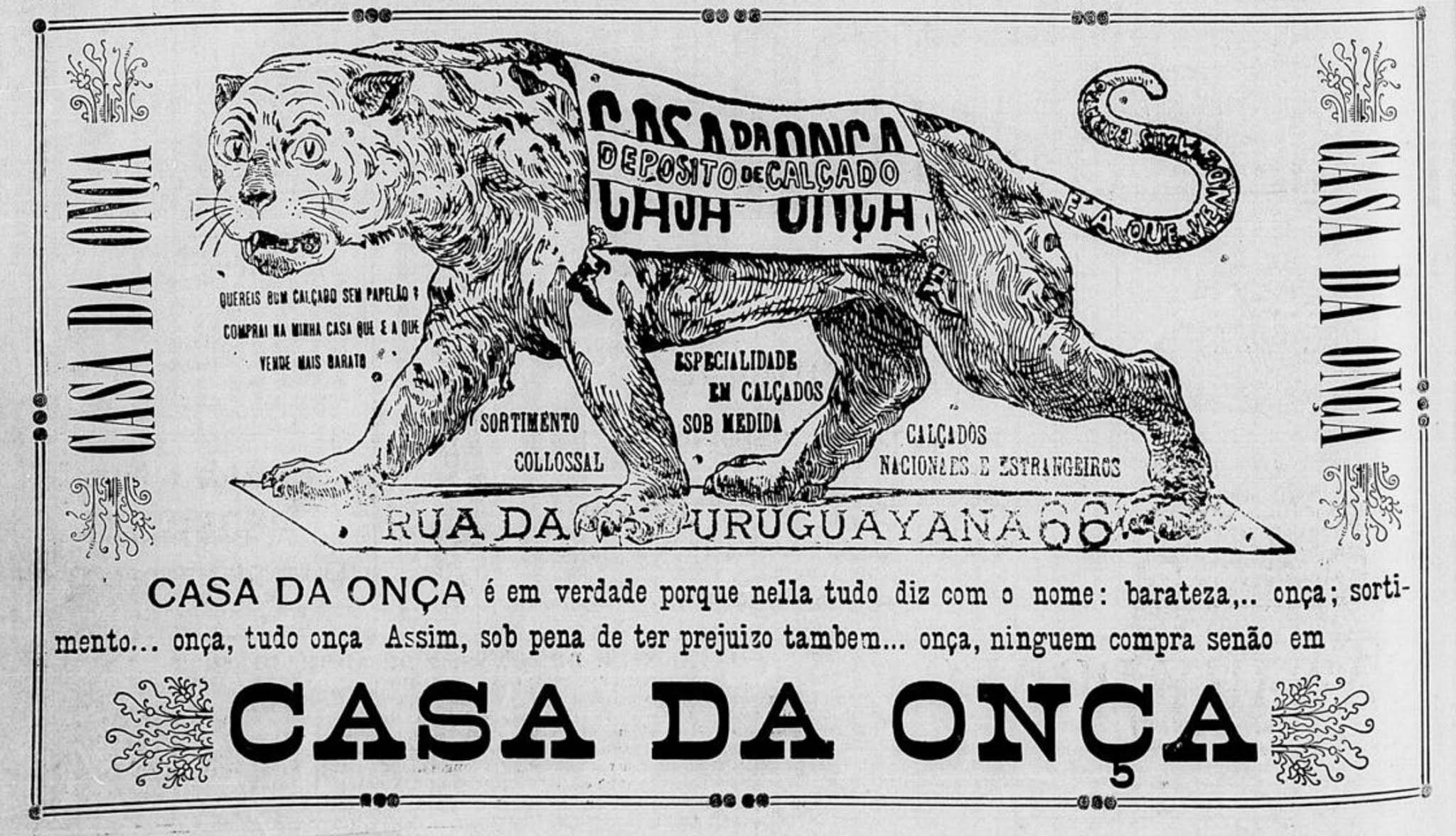 Propaganda antiga da Casa da Onça veiculada em 1903