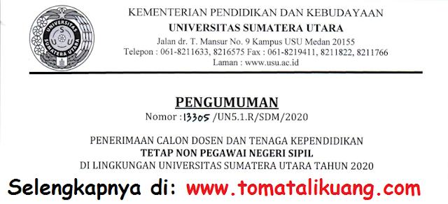 Lowongan Penerimaan Dosen dan Tenaga Kependidikan Tetap Non PNS Universitas Sumatera Utara Tahun 2020 tomatalikuang.com