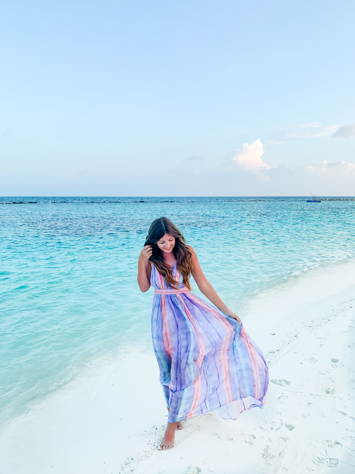 Rainbow Dress Honeymoon in Maldives - Chasing Cinderella