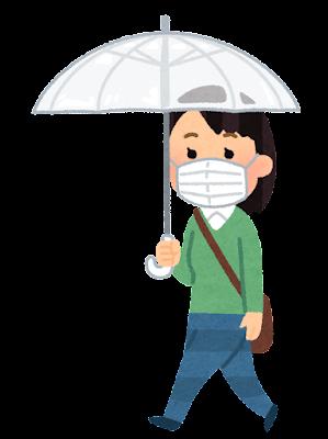 傘をさして歩く人のイラスト(女性・マスク)