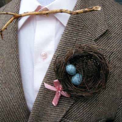 bird nest boutonniere - wedding planning