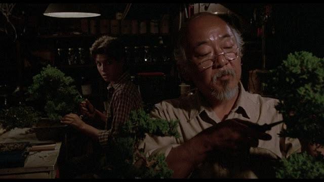 Daniel and Mr. Miyagi work on bonsai trees