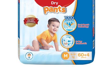 Huggies Dry Pants Diaper Seluar  Cepat Serap dan Selesa Untuk Anak Kami