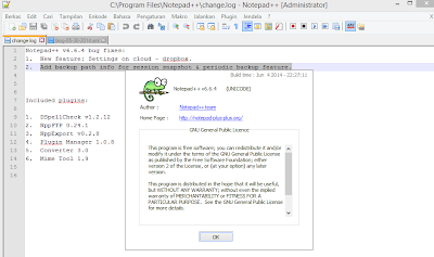 Notepad ++ 6.7.4 Tebaru 2015 Gratis screenshot by www.jembercyber.blogspot.com
