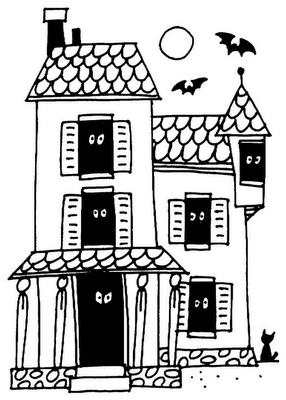 Haunted House Drawing Easy
