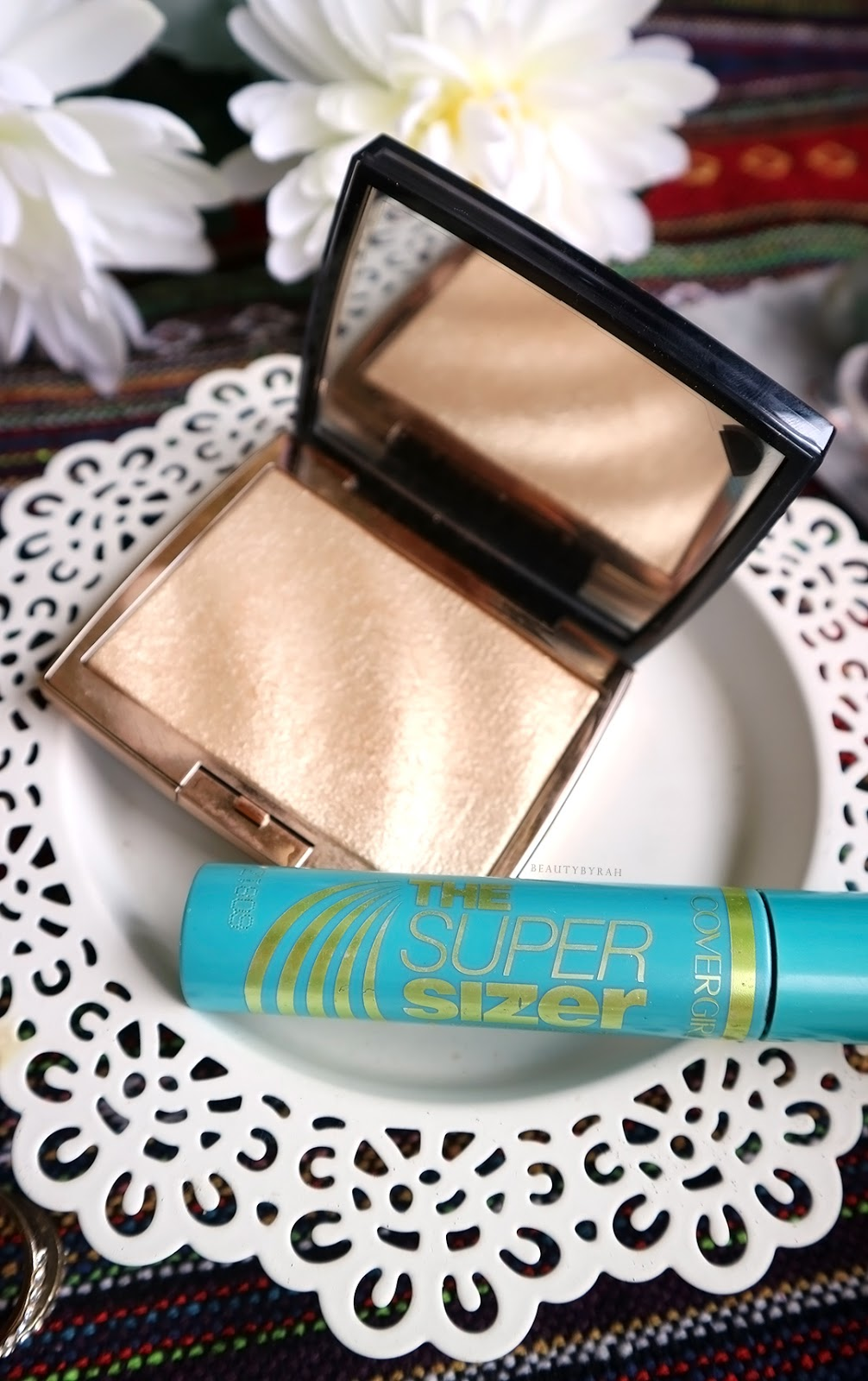 Covergirl super sizer mascara and ABH amrezy highlighter review