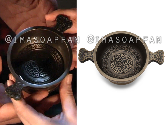 Shiloh, Coby Ryan McLaughlin, Bronze Quaich Cup with Celtic Knot Pattern, General Hospital, GH