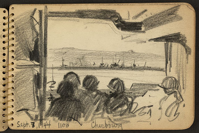 21-Year-Old WWII Soldier's Sketchbooks Show War Through The Eyes Of An Architect - Soldiers Looking At Land In The Distance, Cherbourg