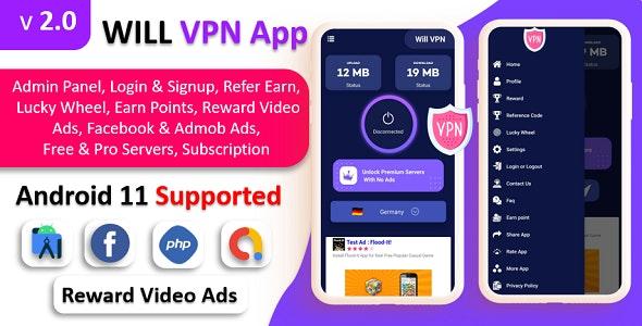 WILL VPN App v1.0 - VPN App With Admin Panel
