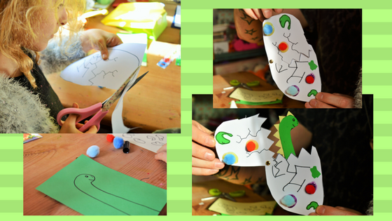 Collage of photos making up the dino hatching. 1. Molly cutting out, 2 dino drawing, 3 and 4 dino egg closed and open to reveal dino.