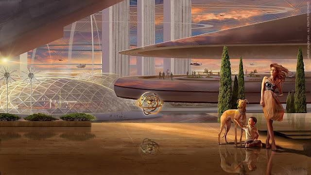 una mujer un perro y un niño en un mundo artificial llamado Asgardia