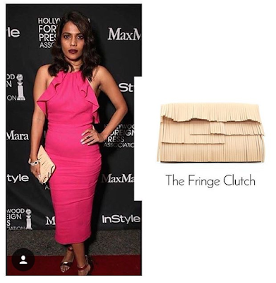Actor Priyanka Bose was spotted carrying a Rashmi Modi Fringe clutch at the TIFF festival