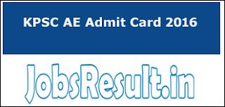 KPSC AE Admit Card 2016