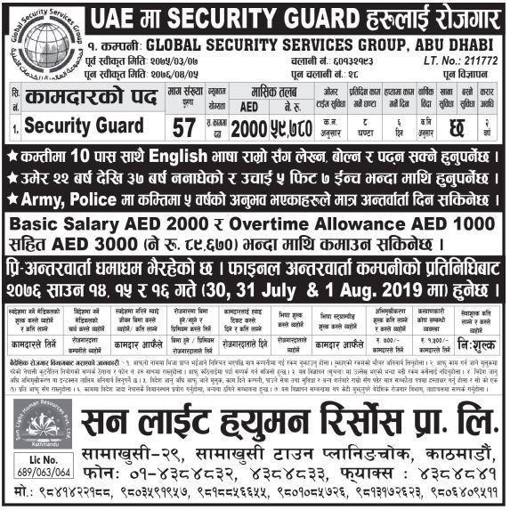57 Security guards Demand UAE, Salary 2000 ADE