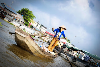 Boats Floating Market in Can Tho