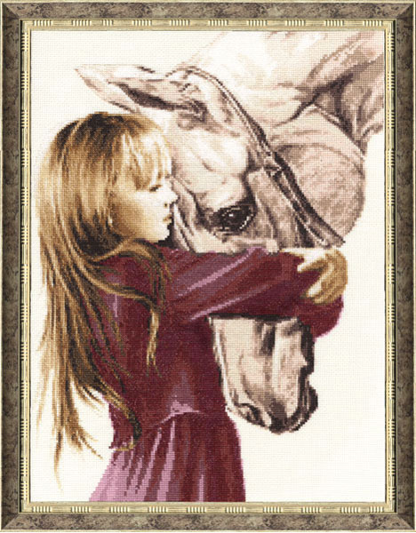 Девочка с лошадью, набор для вышивки, арт. СВ-016 Золотое 339