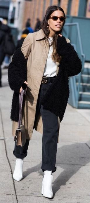 street style obsession | fur jacket + nude coat + white top + bag + black pants + boots