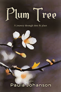 cover of Plum Tree novel. Title in big brass letters. Art shows a flowering branch from a plum tree.