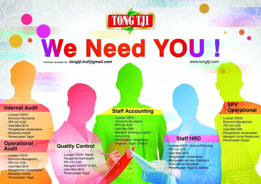 Lowongan Kerja Internal Audit, Operational Audit, Quality Control, Staff Accounting, Staff HRD, SPV Operational Tong Tji