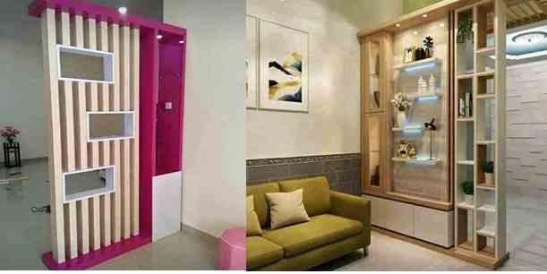 Ruangan Tengah Rumah Minimalis type 36 Dengan Rak Partisi