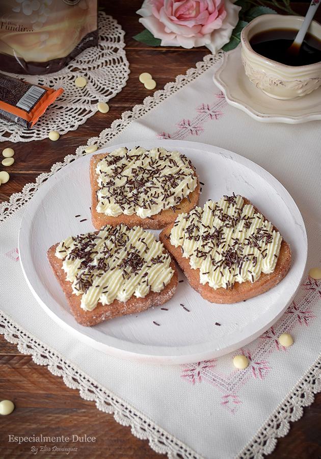 receta torrijas tradicionales con miel y leche con chocolate blanco sin gluten
