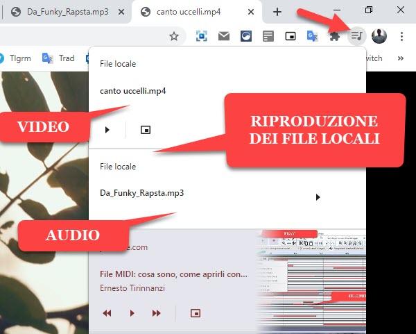 riproduzione dei file locali audio video con chrome