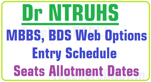 Dr NTRUHS MBBS,BDS Web Options Schedule, Seats Allotment Dates 2016