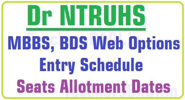 Dr NTRUHS MBBS,BDS Web Options Schedule, Seats Allotment Dates 2016
