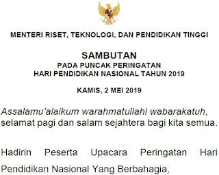 SAMBUTAN PADA PUNCAK PERINGATAN HARI PENDIDIKAN NASIONAL TAHUN 2019 KAMIS, 2 MEI 2019
