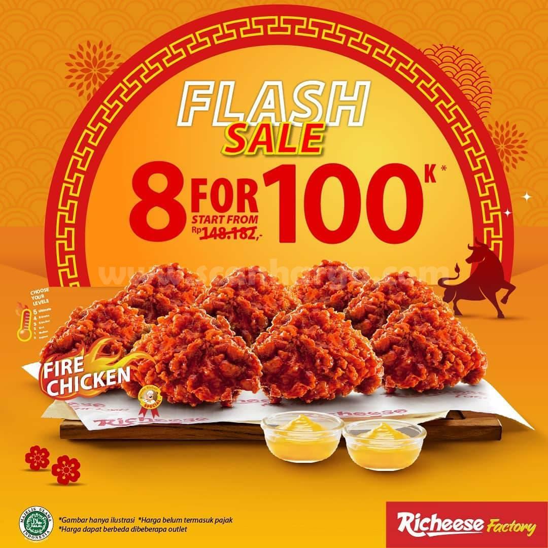 RICHEESE FACTORY Promo Spesial IMLEK! Beli 8 PCS FIRE CHICKEN mulai dari 100K