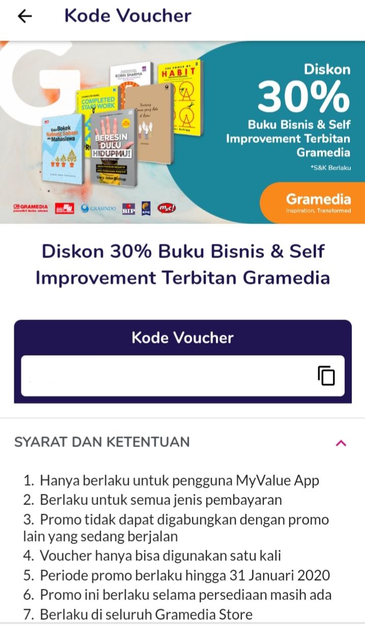langkah redeem voucher buku dengan aplikasi MyValue Gramedia