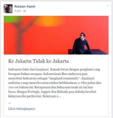 ridwan kamil Ke Jakarta Tidak ke Jakarta