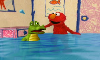 a crocodile is crying and Elmo asks how many tears coming out of its eyes. Elmo's World Eyes Elmo's Question