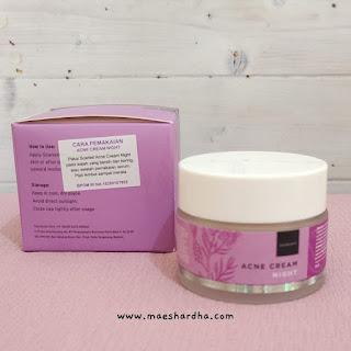 penggunaan dan penyimpanan scralett acne night cream
