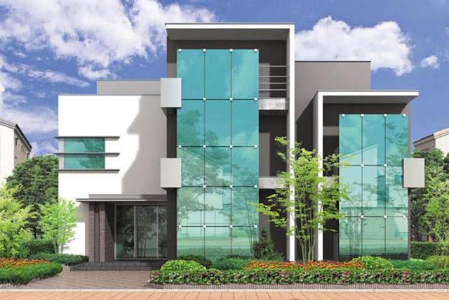 Glass strut-and-bolt facade