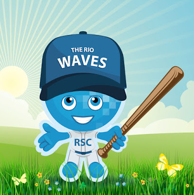 Image of Rio Waves mascot Splash wearing a baseball outfit and cap, holding a baseball bat in a field, sun shining.