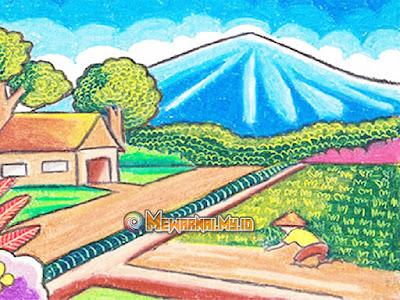 Gambar Mewarnai Pemandangan Alam Pedesaan