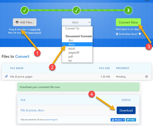 conversione online dei file pages