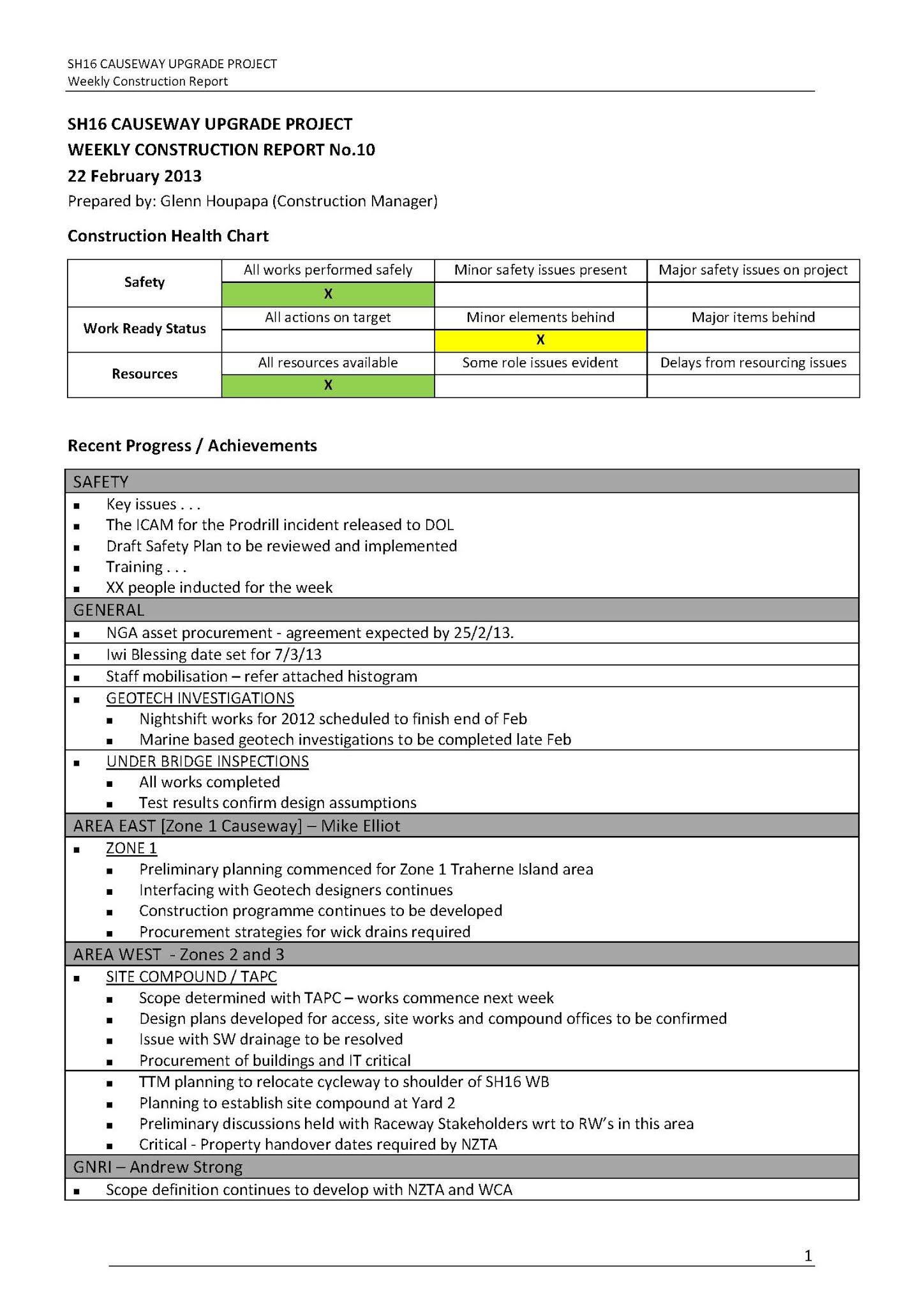 Construction weekly progress report example