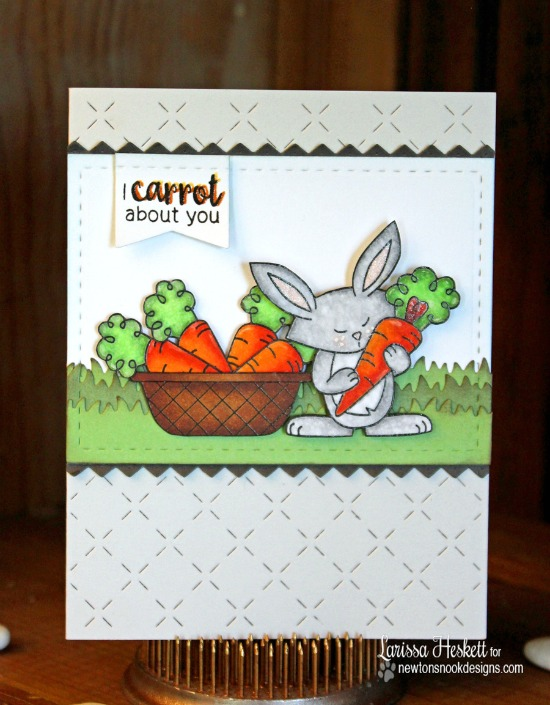 I Carrot About You Bunny Card by Larissa Heskett | Hello Spring Stamp set by Newton's Nook Designs #newtonsnook
