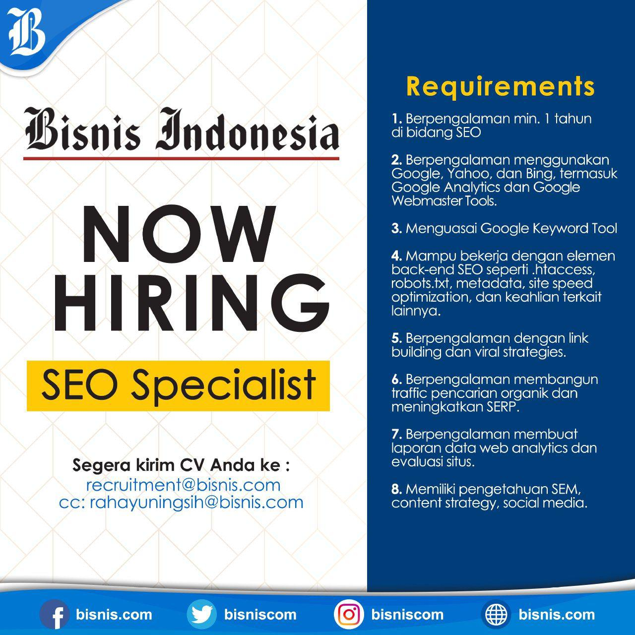 Lowongan Kerja Bisnis Indonesia Januari 2019
